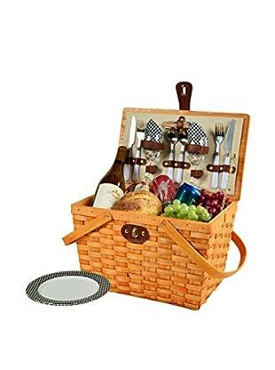 Picnic At Ascot Frisco Basket For 2, Honey/Black Gingham