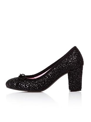 Bisue Zapatos Tacón Brillantina (Negro)