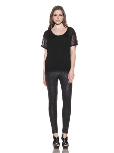 under.ligne by Doo.Ri Women's Studded Pointelle Scoopneck Top (Black)