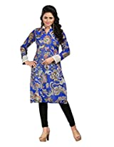 India Ethnic Store Exclusive Digital Print Faux Georgette Blue Colour Hand Work Kurti F-1002