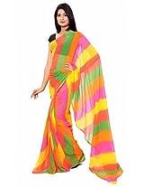 Rajasthani Leheriya Multi Color Georgette Saree