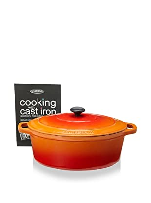 Chasseur Oval Cast Iron Casserole with Lid (Orange Flame)