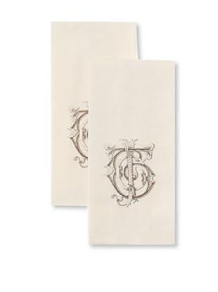 Chateau Blanc Monogrammed Hand Towels, Cream, 13