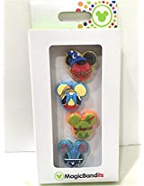 Disney Parks Character Icon Bandits Set of 4 Magic Band Pinocchio Peter Pan Stitch Sorcerer Mickey NEW