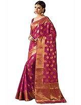 Stylowoman Women tussar silk Sari zari border with Blouse Piece