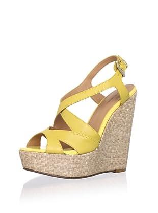 Madison Harding Women's Loretta Crisscross Wedge Sandal (Yellow)