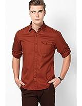 Brown Solids Casual Shirts John Players