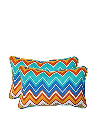 Set of 2 Zigzag Orangeaide Indoor/Outdoor Rectangular Throw Pillows