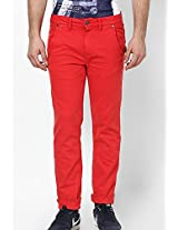 Red Color Slim Fit Jeans