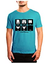 Bushirt Men's Round Neck Cotton T-Shirt (DN00093- Global Warming_Blue_XX-Large)