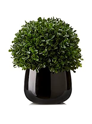 Lux-Art Silks Boxwood Ball in Black Container, Green