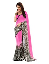 Brijraj Black White Pink Poly Georgette Beautiful Printed Sareee With Unstitch Blouse