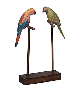 Carved Parrots on Stand