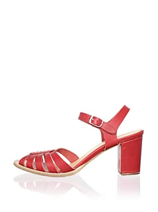 Swedish Hasbeens Women's Leather Peep-Toe Sandal (Red)