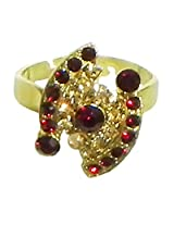 DollsofIndia Maroon and Brown Stone Studded Adjustable Ring - Stone and Metal - Red