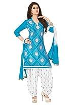 Salwar Studio Sky Blue & White Cotton Dress Material with Dupatta Royal Patiyala-5001
