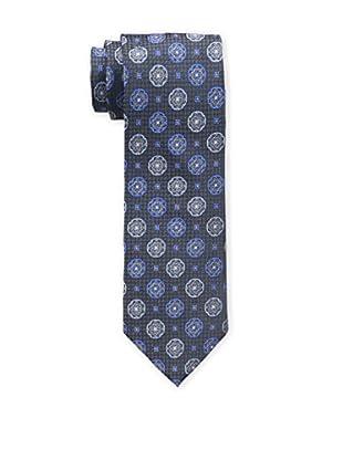 Bruno Piattelli Men's Medallion Silk Tie, Blue Charcoal