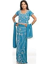 Exotic India Turquoise Blue Lehenga Choli with Beadwork and Sequins - Turquoise