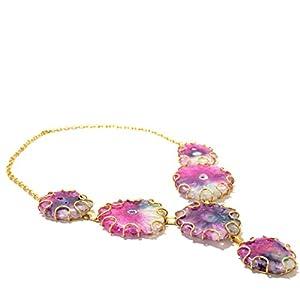 Daamak Jewellery Pink Agate Link Necklace