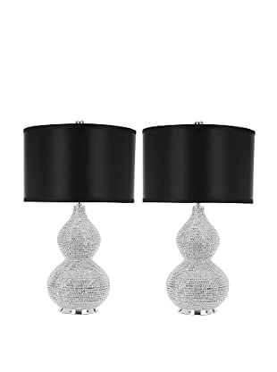 Safavieh Set of 2 Nicole Bead-Base Table Lamps, Silver