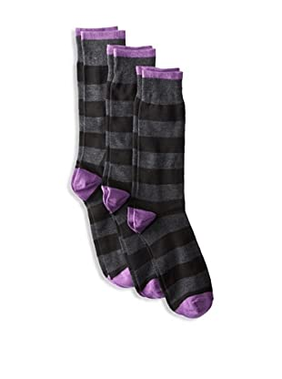 Florsheim Men's Rugby Stripe Socks (3 Pair) (Charcoal Heather)