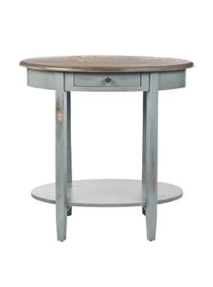 Safavieh Monica Oval End Table, Pale Blue/Light Oak
