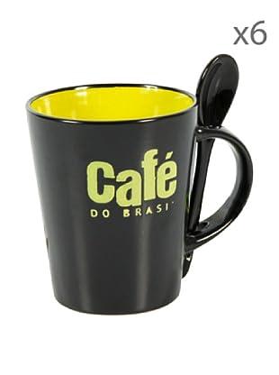 Delys by verceral Lote De 6 Mug Café Con Cuchara Cerámica