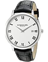 Raymond Weil Toccata White Dial Black Leather Strap Mens Watch 5588-STC-00300