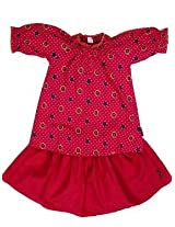 Mind The Gap Cotton Solid Girls Skirt & Top - Red