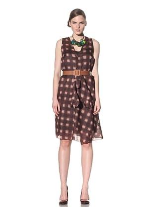 MARNI Women's V-Neck Organza Dress (Wineberry Beige)