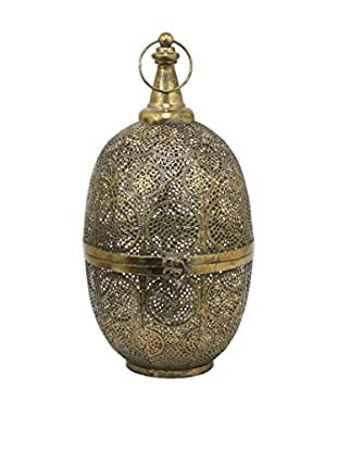 Three Hands Oval Metal Lantern, Gold