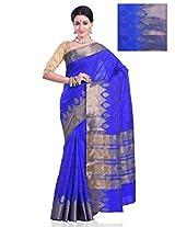 Meghdoot Women's Traditional Art Tussar Silk Saree Royal Blue Colour