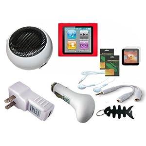 iShoppingdeals - 8 Item Charger Speaker Bundle for Apple iPod Nano 6G 6th Generation 8GB 16GB