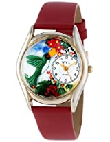 Whimsical Watches Women's C1210003 Classic Gold Hummingbirds Red Leather And Goldtone Watch