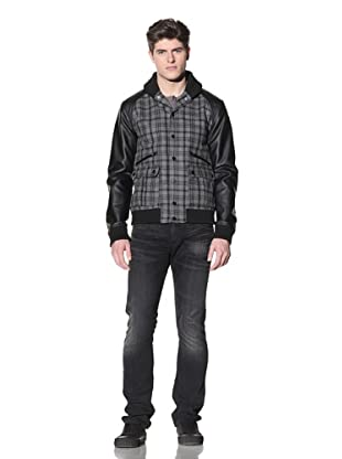 MG Black Label Men's Lumbar Varsity Jacket (Onyx/Charcoal Plaid)