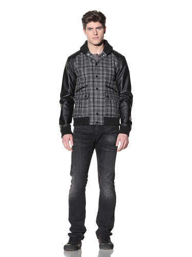 MG Black Label Men's Lumbar Varsity Jacket (Onyx/Charcoal Plaid)