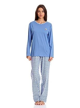 Muslher Pijama Señora Bordado Perro De Tres Piezas (Azul)