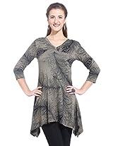 Purys Women's Printed Top (E-150679SP5975_Brown _M)