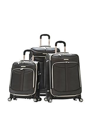Olympia USA Luggage Tuscany 3-Piece Spinner Expandable Luggage Set, Black