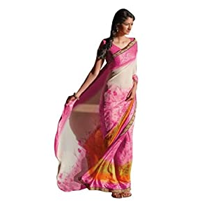 Triveni Smart Tricolored Shaded Casual Wear Faux Georgette Saree 3073