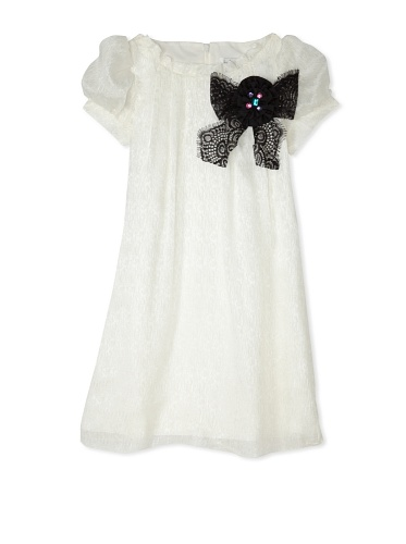 Blush by US Angels Girl's Short Sleeve Dress with Applique (Ivory)