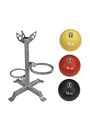 Body Solid 3 Medicine Ball Pack with Rack, Multi