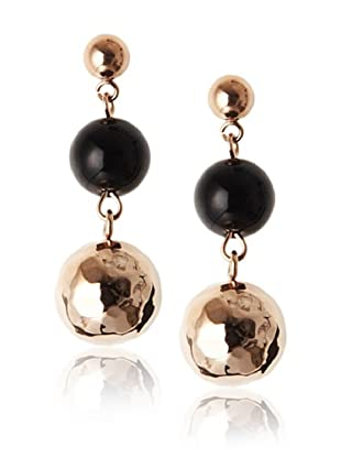 Chloe Collection By Liv Oliver Black Bead & Hammered Drop Earrings