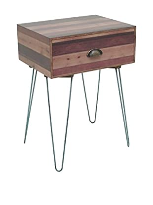 Three Hands Wood/Metal Accent Drawer Table