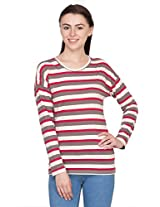 Hypernation Red and Brown Stripped T-Shirt for Women