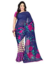 Admyrin Blue and Cream Printed Saree with Pink Georgette Blouse