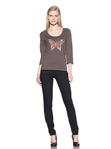 Michael Simon Women's 3/4 Sleeve Scoop Neck Butterfly Top (Dawn)