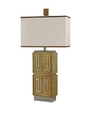 StyleCraft Aztec Carving-Inspired Design Table Lamp, Palladium Platinum