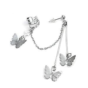 Ashiana Beautiful Silver Butterfly Tassels Clip Ear Cuff Earring