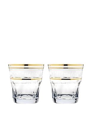 Godinger Set of 2 Somerset Gold Band Double Old Fashioned Glasses